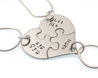 Heart Puzzle Necklace | Big Sis, Lil Sis, Mom | 3 Piece Necklace Set | Sisters Necklace | Mother Daughter | Sorority Jewelry | Hand Stamped