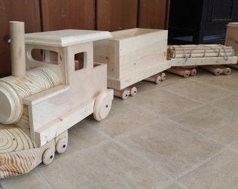Wood Train Set, 4 Piece, Logging Train Set, Wood Toys, Wooden Train, Locomotive, Kids Toys, Gifts for Boys, Large Wood Train, Choo Choo, Boy