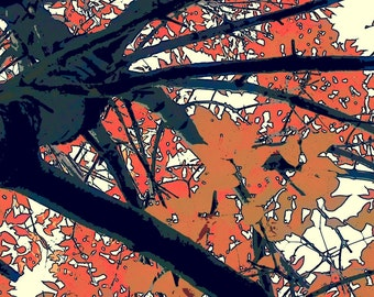 Fall-Gray-Blue Branches with Orange and Mustard Fall Leaves