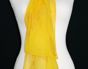 Golden Yellow Hand Painted Silk Scarf GOLDEN DAYS, size 8x54, by Silk Scarves Colorado. Handmade Gift. Anniversary, Mother Gift.