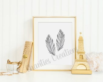Two Grey Watercolor Feathers Wall Art Printable 8x10