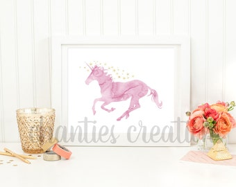 Pink Watercolor and Gold Foil Unicorn Printable Wall Art. Magical Unicorn Wall Art Print.