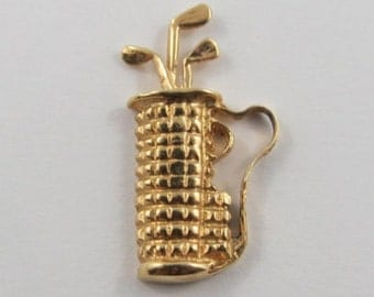 Golf Clubs 14K Gold Vintage Charm For Bracelet