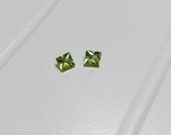 Hebei Natural Genuine Peridot Apple Green Square Princess Cut Set 0.74ctw 4x4mm