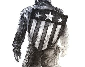 Captain America / digital printing / unique gift / Anniversary / Birthday Gift / Original art / poster child / living room Decoration