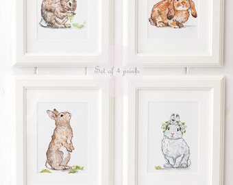 Bunny Art Print Set - Bunny Nursery Prints - Giclee - Bunny Nursery Decor - Bunny Nursery Art - Nursery Art Print Set