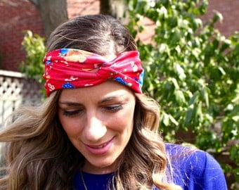 BUY ANY 2 get 1 FREE! Red Flowers, Yoga Headband, Twist Headband, Workout Headband, Boho Headband, Running Headband, Fashion Headband