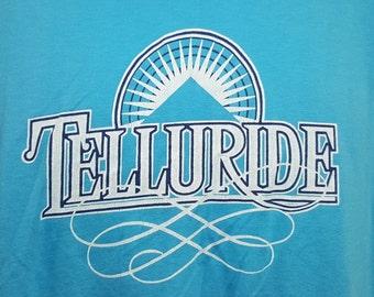 Vintage 80's Telluride Colorado Ski USA Graphic T Shirt Large