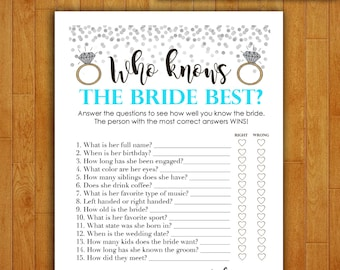 Bridal Shower Game Download - Who Knows the Bride Best - TEAL & SILVER - Instant Printable Digital Turquoise - diy Bridal Shower Printables