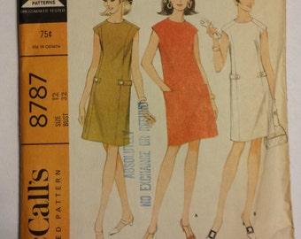 Vintage 1960 McCall's Shift Dress Pattern #8787 Size 12 Bust 32