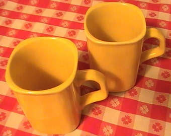 "Two Hall ""D"" Handle Mugs From The 50's"