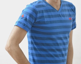 Tee shirt rayures col V de haute qualité Hi11 Heaven Bleu