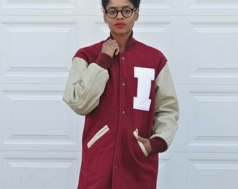 Vintage 90s Preppy VARSITY Unisex Jacket Red Wool Leather Sports Jacket Illinois Sports Jacket Mens Fall Winter Coat Oversized Womens Jacket