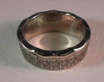 Australia Silver Jubilee 50 Cents Coin Ring - 1977 Queen Elizabeth Silver Jubilee Ring Size 12.5 Coin Ring
