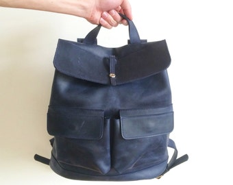HandMade Blue LEATHER BACKPACK  / Handcrafted cowhide leather Rucksack with two front pockets / Dark blue leather bag