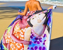 Beach towel, beach accessory, outdoor blanket, tropical art inspired by Jazmin Sasky, beach tapestry, wall tapestry 51 x 60""