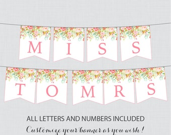Printable Banner with ALL Letters and Numbers - Pink and Gold Floral Bridal Shower Decoration - Shabby Chic Garden Bridal Shower Banner 0004