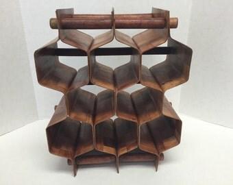 Mid Century Modern Bentwood Wine Rack Honeycomb Vintage Wood