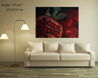 Pomegranate Painting, Pomegranate Art, Large Painting, Large Wall Art, Fruit Art, Fruit Painting, Original Painting On Canvas, Abstract Art