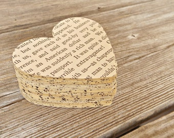 100 Vintage Paper Die Cuts, Vintage Book Heart Punches, Paper Ephemera, Heart Die Cuts, Mixed Media, Card Making Supplies, Collage