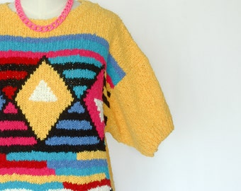 1980s Yellow Short Sleeved Graphic Sweater