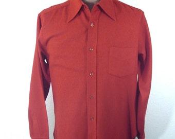 Vintage 60's 70's Pendleton Men's Shirt Virgin Wool Red Button Long Sleeve Large