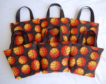 Set of 6 Sports Fabric Gift Bags/ Party Favor Bags/ Goody Bags- Basketball