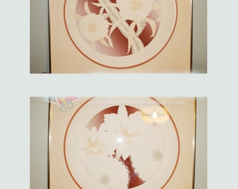 Pair of Vintage David Allgood Embossed Florals Serigraphs Prints- Numbered and Signed 1980's Artist