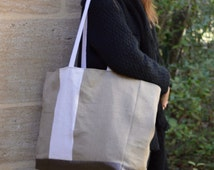 Large Tote/Natural Linen upcycled white hemp Large Beach Bag/Linen white stripe tote/Monogram possible/Linen Extra Large Oversize Beach tote