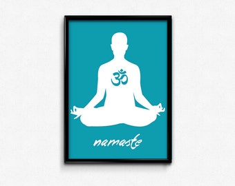 Items similar to Namaste - Art Print, Red Lotus, Yoga Pose ...