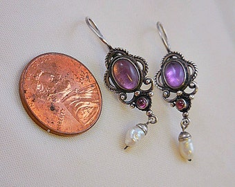 Amethyst Fresh Water Pearl Sterling Silver Earrings