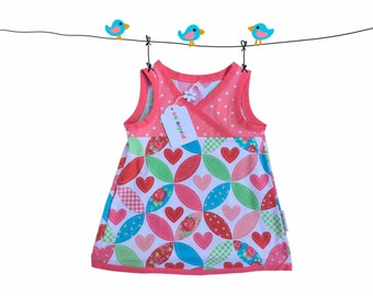 baby dress hearts, size 9 Months, coral baby tunic dress, polka dot baby dress, baby girl dress, summer dress, kids clothing, apricot dress