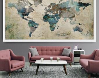 Extra Large Wall Art Push Pin World Map Art Print, Large Wall Decor  Abstract Painting Part 95