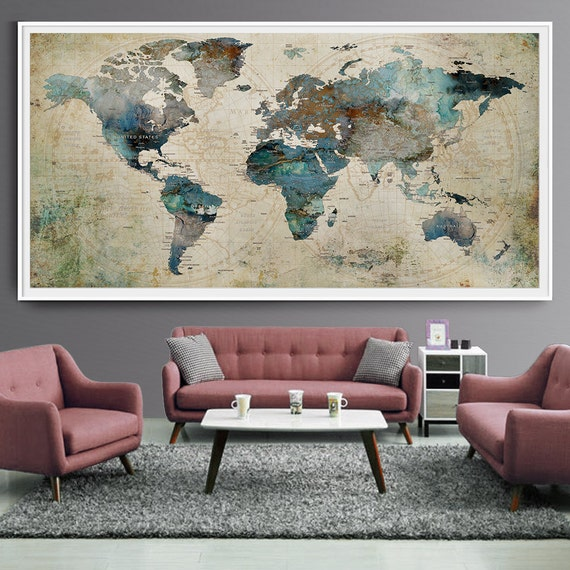 Decor World: Extra Large Wall Art Push Pin World Map Art Print Large Wall