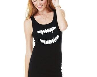 Fangs Women's Tank Dress, Goth Tank Dress