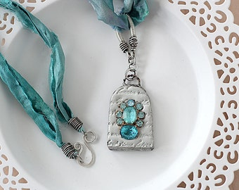 Sari Silk Necklace - Turquoise Rhinestone Necklace - Mixed Media Necklace - Victorian Inspired Pendant Necklace - Gift for Her