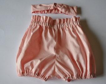 Pink Flexi Shorts/Baby Bloomers  and Matching headband Set