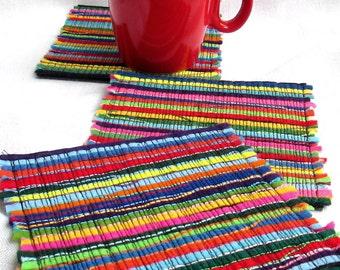 2 Felt drink coasters, Fabric coaster set, Handmade cup coasters, Housewarming gift, Multicolor coasters, Modern coasters Red table coasters