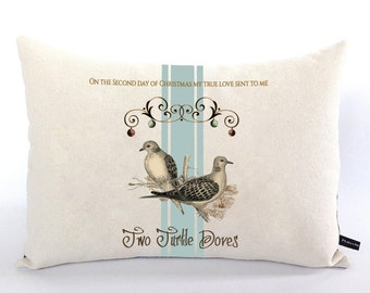 Two Turtle Doves pillow cover 2nd Day of Christmas holiday song from 12 Days of Christmas 12x16 canvas cushion gift #521 FlossieandRay