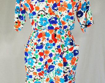 Vintage 1980's Short Sleeve Dress Bright Orange, Blue , Red and Black Floral Print  Poppy Flowers Punk New Wave Hipster Size Extra Small