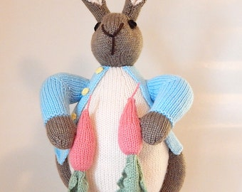 PETER RABBIT, Beatrix Potter, handknitted rabbit, hand knitted nursery toy, knitted rabbit, knitted soft toy, knitted childrens toy, animal