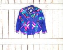 Vintage 90s blue/pink/green sporty wind breaker/nylon sports jacket/athletic light weight track suit jacket/active wear/jogging jacket