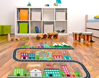 kids race car track floor decals in a city scape design kids room decor great