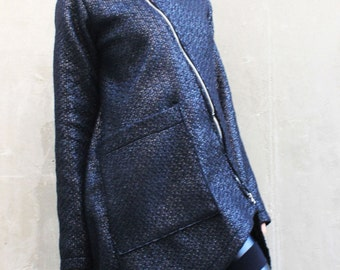Black Long Coat/Long Sleeves Vest/ Coat with Zip/ ASYMMETRIC Wool Coat/Trench Coat/ Jacket by Fraktura C0007
