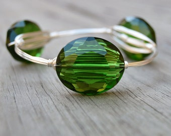 Green Crystal Bangle, Green Crystal, Crystal Bangle, Green Crystal Bracelet,