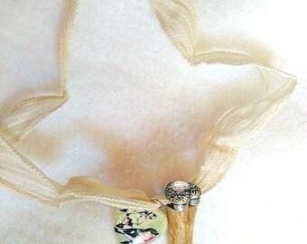 Deer Antler Necklace with Locket - Heart Locket - Deer Locket - Antler Heart Necklace - Natural Antler Jewelry - Antler Necklace