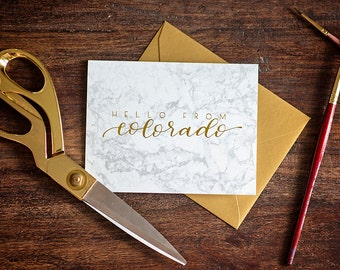 Hello from Colorado // Gold Foil // Marble // Greeting Card