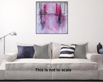 Large Abstract Art Landscape Pink Painting Original Landscape Abstract Painting Waterside Reflection Hot Pink Painting by JDArtiste