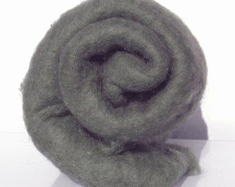 Carded wool batt for needle and wet felting. Strong and stable fiber. Charcoal, Medium gray, Steel gray