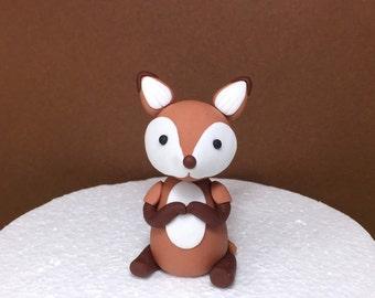 Fondant Fox. Edible Fox Cupcake Topper Cake Topper. Woodland Cake Topper.